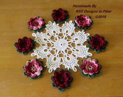 Cluny Lace Doily with 3D Red Roses and Green Leaves - Handmade By Ruth Sandra Sperling at RSS Designs In Fiber