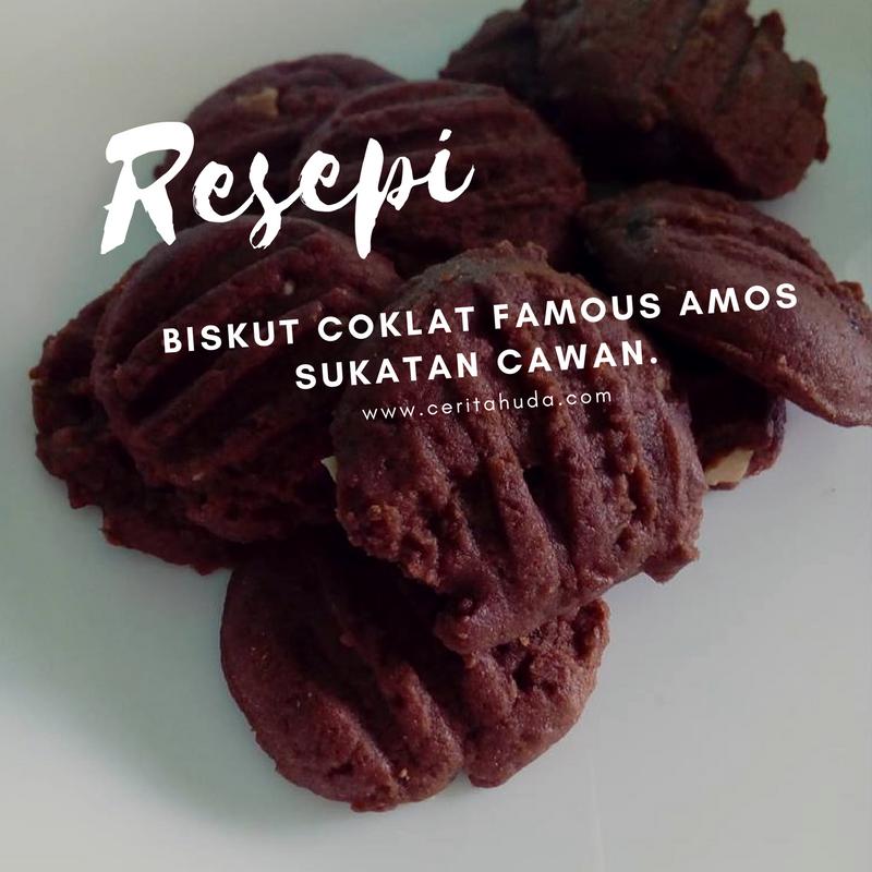 Resepi biskut coklat Famous Amos sukatan cawan.