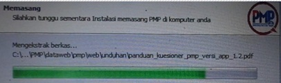 Tunggu proses intalasi aplikasi PMP Versi 1.4 sampai selesai