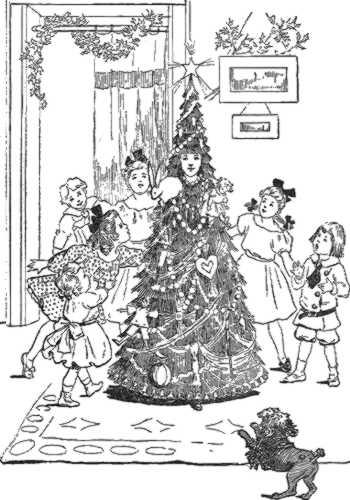 niños en torno a un arbol de navidad