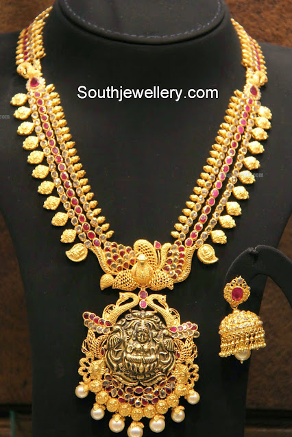 Antique Gold Kasu Haram - Jewellery Designs