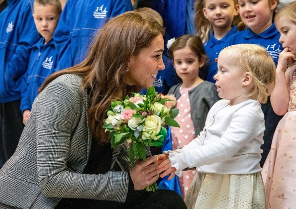 Kate Middleton wore a 2 Button Blazer by Smythe. Kiki McDonough White Topaz and Diamond Cushion Drop earrings , Russell and Bromley Fallon