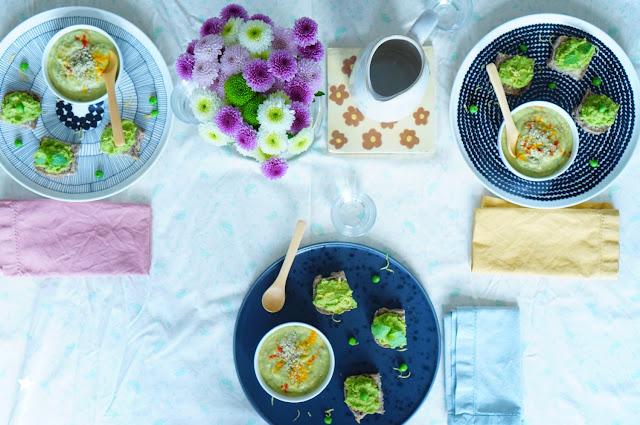 assiette végétale complète velouté cru avocat concombre tartinade petits pois menthe coco vegan