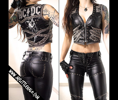 Studded denim and leather ACDC vest