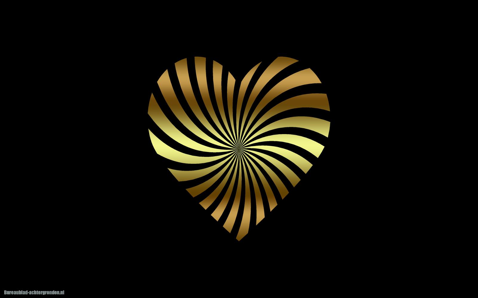Wallpaper 3d Facebook Zwarte Achtergrond Met Gouden Liefdes Hartje Mooie Leuke