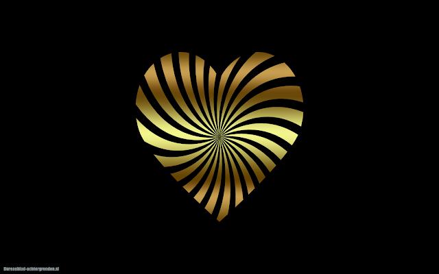 Zwarte achtergrond met gouden liefdes hartje