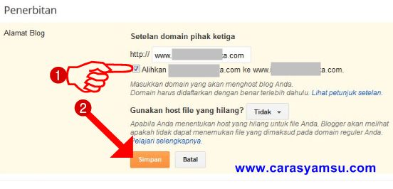 Pengalihan domain tanpa www ke www