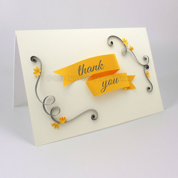Printable Quilled Thank You Card And Envelope