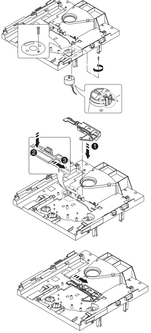 How to re-assemble the CD changer mechanism
