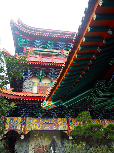 Colourful designs on the exterior of Po Lin Monastery, Ngong Ping, Lantau Island, Hong Kong