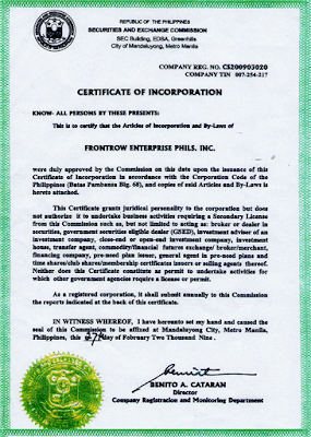 FrontRow Certficate of Incorporation (SEC)