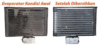 Evaporator Kotor dan Bersih pada Sistem AC Mobil