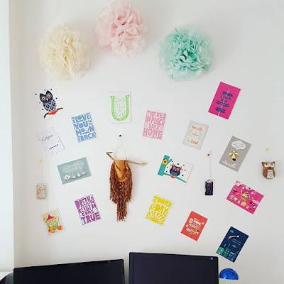 Positive Thinking Home Office Travail à domicile Decoration Postcards Snail Mail Fleurs en papier Paper Flowers Chouettes Owls Porte-bonheurs japonais Japanese Lucky Charms