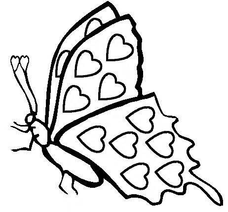 Free Coloring Pages Etyho: Butterflies and hearts coloring pages