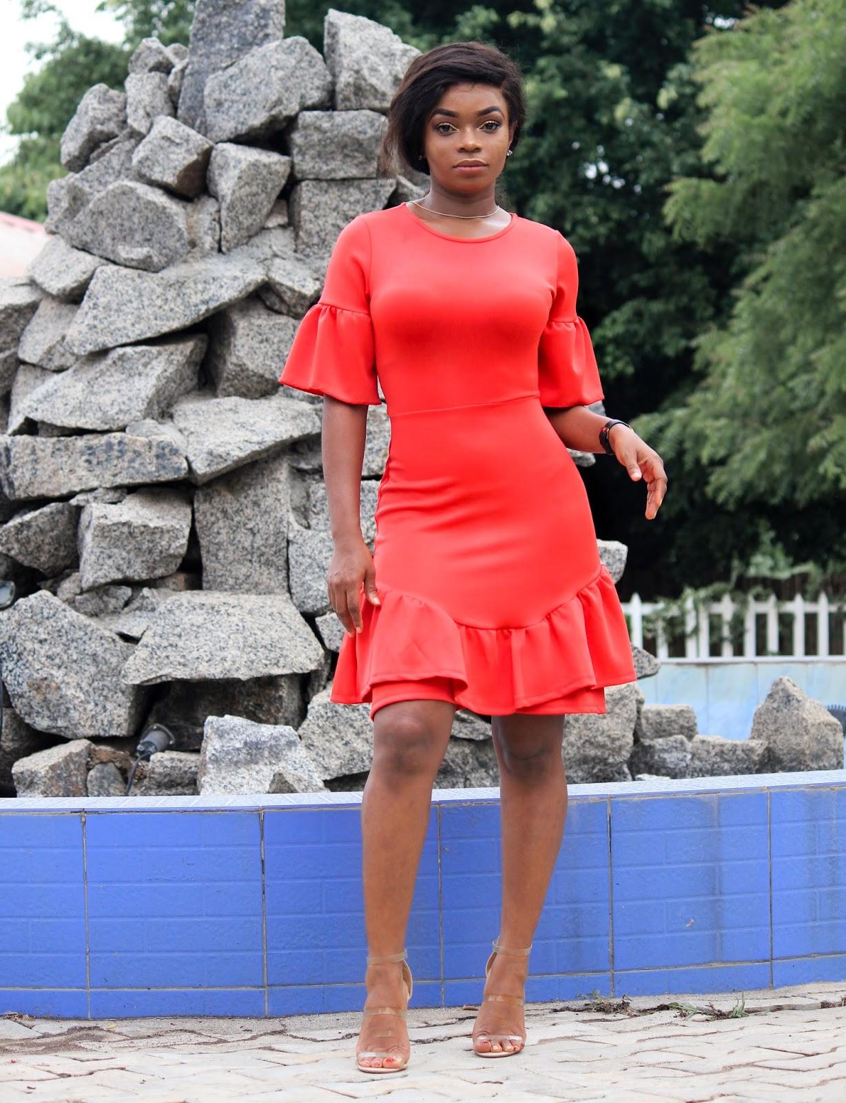 LAYERED RUFFLED HEM DRESS - Red Layered Ruffle Hem Dress from Elabelz