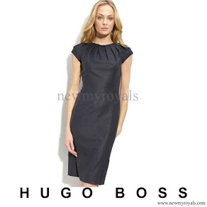 Crown Princess Mary wore HUGO BOSS Black 'Denna' Stretch Wool Blend Dress