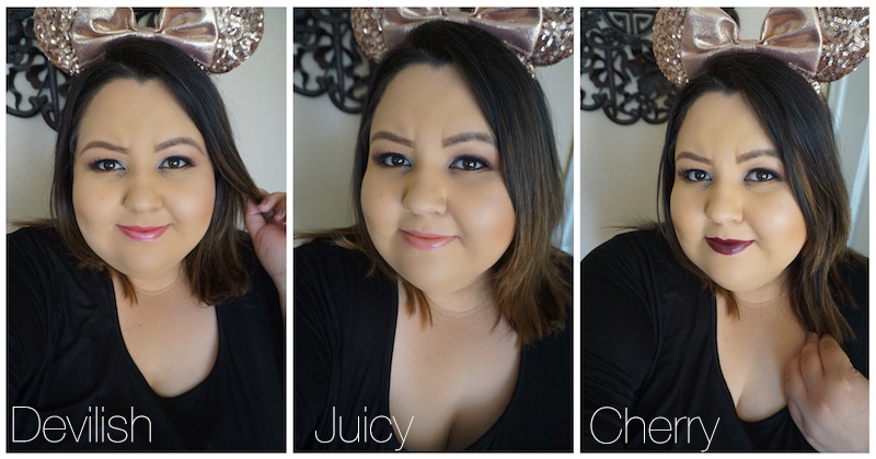 Devilish, Cherry, Juicy Urban Decay Lipstick Swatches