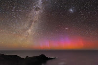 Red and Purple Aurora over Southern Coast of Australia