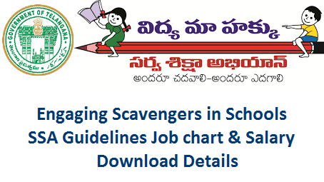 Engaging Scavengers in PS UPS High Schools Guidelines Job Chart Download  TSSA Hyderabad Guidelines on engaging the services of Personals for Maintenance of Schools during the Academic year 2018-19. Download Guidelines and Job Chart of Scavengers Watch Man in Primary Upper Primary and High Schools in Telangana. SSA-Guidelines-engaging-scavengers-in-ps-ups-high-schools-telangana-job-chart-download
