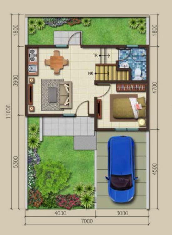 Denah rumah minimalis ukuran 7x11 meter 3 kamar tidur 2 lantai