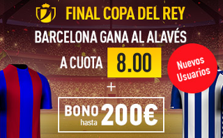 Supercuota 8 sportium Barcelona gana Alaves + 200 euros final copa 27 mayo JRVM