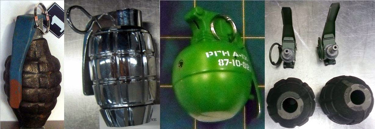 Grenades Discovered at (L-R) SAT, SAN, LAS, ICT