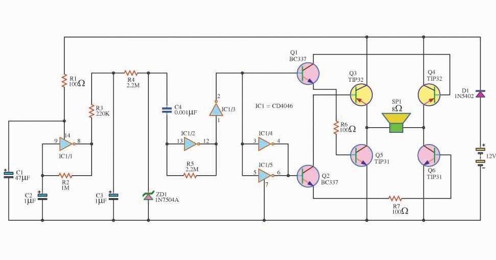 siren sound loudly circuit using cd4046