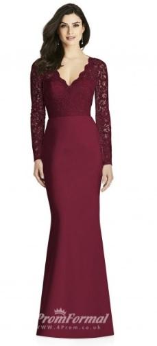 https://www.4prom.co.uk/bduk2196-mermaid-trumpet-dark-fuchsia-lace-satin-v-neck-long-sleeve-long-bridesmaid-dress.html