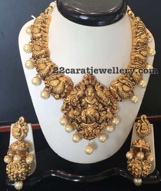 Antique Peacock Necklace with Two Step Jhumkas