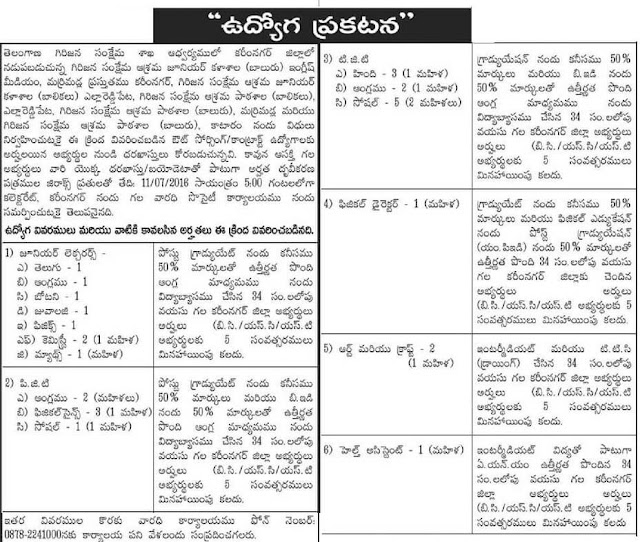 TSTWREIS Gurukulam Teacher, Lecturer Posts 2016 Recruitment Notification
