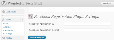 Wonderful Tech Stuff Facebook Registration Plugin Settings
