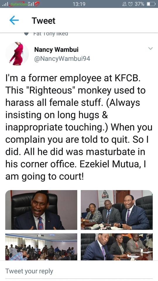Deno%2Band%2Bwife - DRAMA as LADY accuses EZEKIEL MUTUA of sexual harassment and reveals how he used to masturbate in the office.