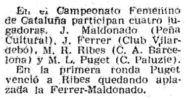 XVI Campeonato Femenino de Catalunya 1959, recorte de El Mundo Deportivo, 16/1/1959