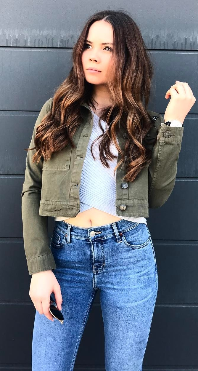 cool fall outfit / jacket + top + jeans