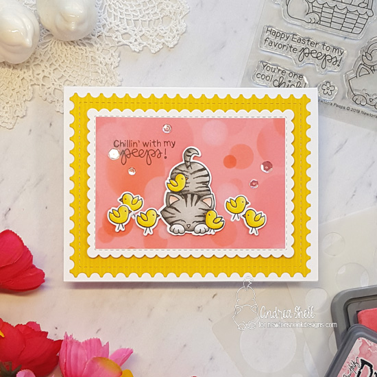 Kitty and chicks Card by Andrea Shell| Newton's Peeps Stamp Set and Bokeh Stencil Set by Newton's Nook Designs #newtonsnook #handmade
