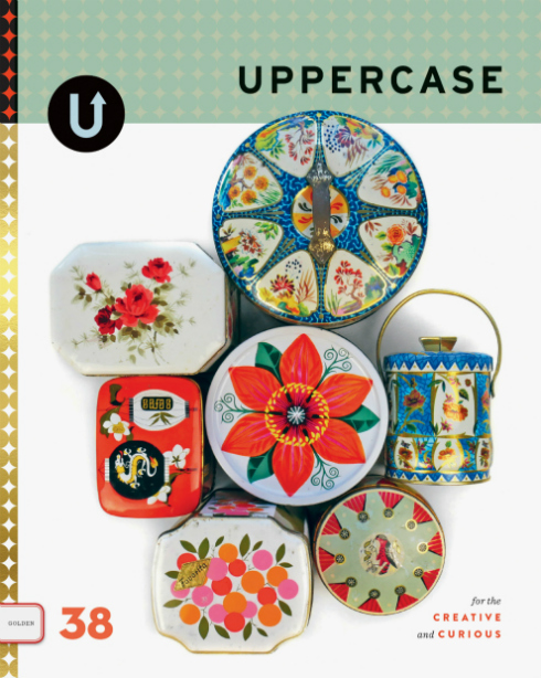 Vintage metal containers on cover of Uppercase magazine, Issue 38