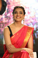 Kajal Aggarwal in Red Saree Sleeveless Black Blouse Choli at Santosham awards 2017 curtain raiser press meet 02.08.2017 063.JPG