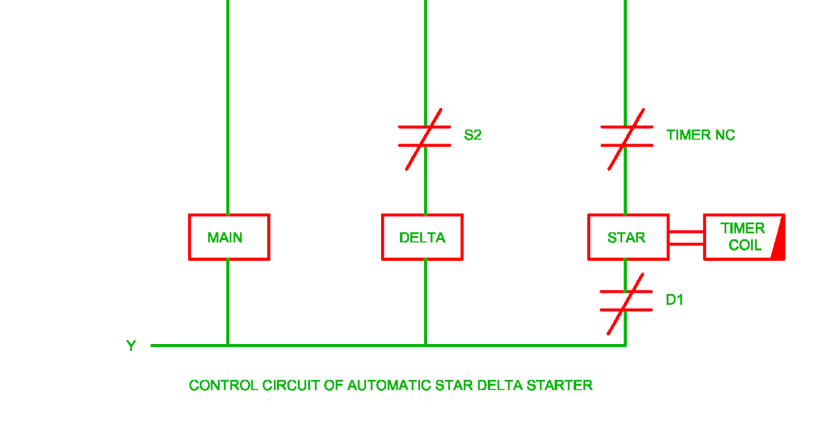 control circuit of automatic star delta starter electrical revolution Motor Starter Control Wiring Diagram