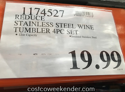 Deal for a 4 pack of Reduce Stainless Steel Wine Tumblers at Costco