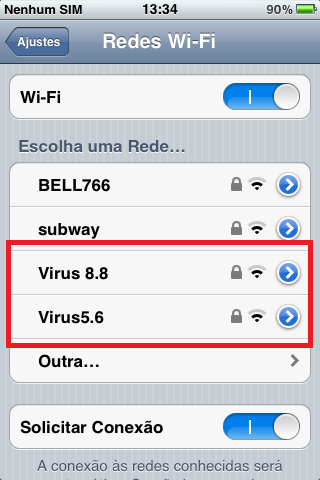 rede wireless virus