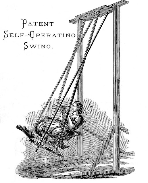 An illustration of an 1890 self-operating swing, from a catalog