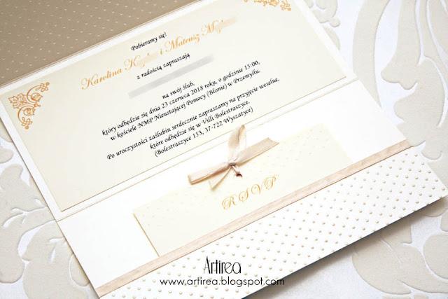 Kremowo- złote zaproszenia ślubne - połączenie wzorów Aviator i Miętowe Love