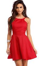 Red Backless Skater Dress