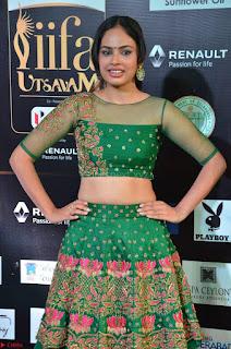 Nandita Swetha in a tight Green Choli Ghagra at IIFA Utsavam Awards March 2017