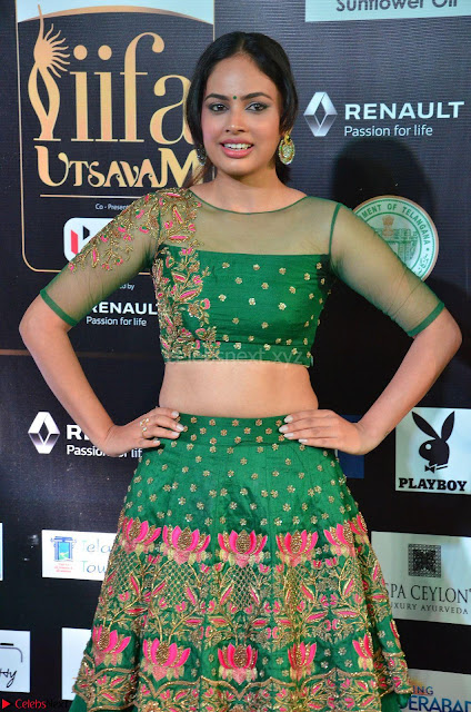 Nandita Swetha in a tight Green Choli Ghagra at IIFA Utsavam Awards March 2017 ~ 005.JPG