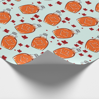 Zazzle Maple Syrup Pattern Wrapping Paper