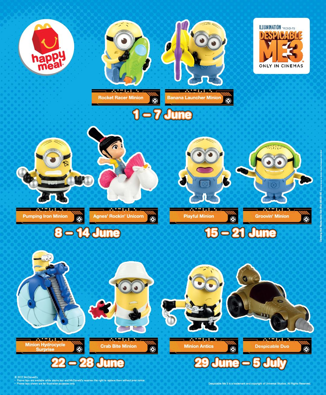 FREE McDonald's Happy Meal Despicable Me 3 Minion Toys ...
