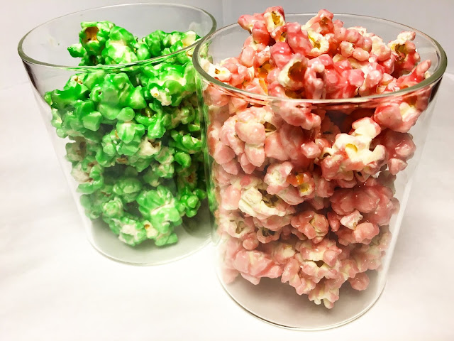 Jars of Fruit Punch and Green Apple Candied Popcorn