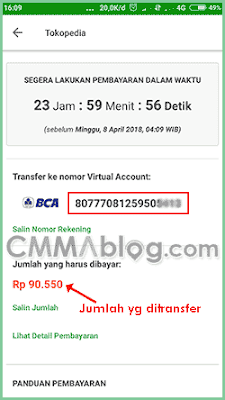 Cara Transfer m-Banking ke Virtual Account BCA Tokopedia