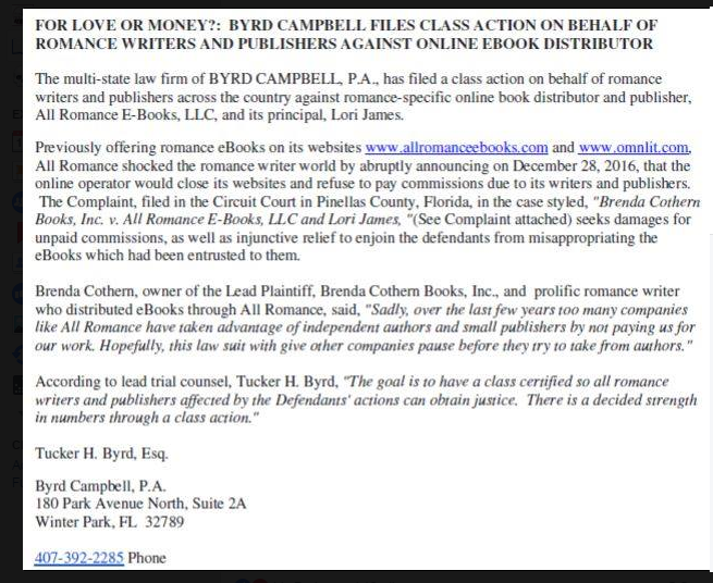 Writer beware the blog december 2016 against all romance ebooks and its owner lori james by the law firm of byrd campbell pa the press release is below you can read the complaint here fandeluxe PDF
